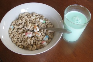 St. Patrick's Day Breakfast - Lucky Charms and Green Milk