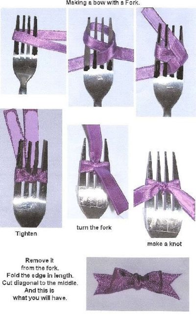 using a fork to make hair bows