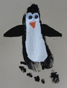 Penguin Christmas Cards Footprint.Kid Craft Ipinnedit